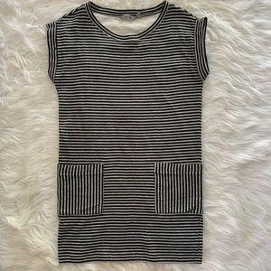 Athleta black gray stripe knit shirt dress